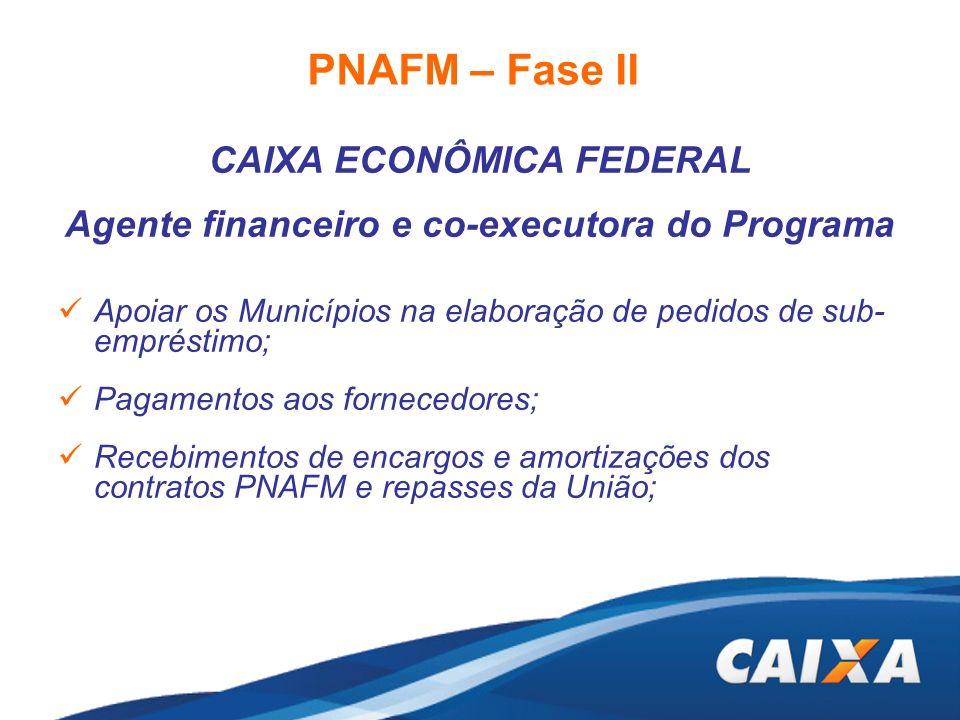 PNAFM – Fase II CAIXA ECONÔMICA FEDERAL Agente financeiro e co-executora do Programa Apoiar os Municípios na elaboração de pedidos de sub- empréstimo;