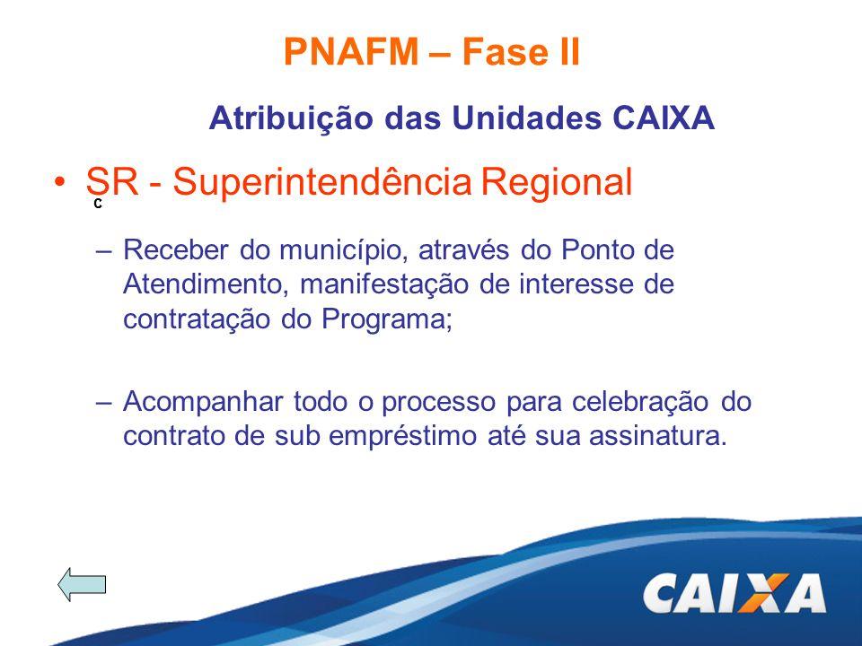 PNAFM – Fase II Atribuição das Unidades CAIXA c SR - Superintendência Regional –Receber do município, através do Ponto de Atendimento, manifestação de