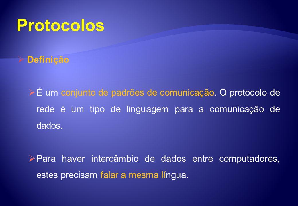 Definição É um conjunto de padrões de comunicação. O protocolo de rede é um tipo de linguagem para a comunicação de dados. Para haver intercâmbio de d