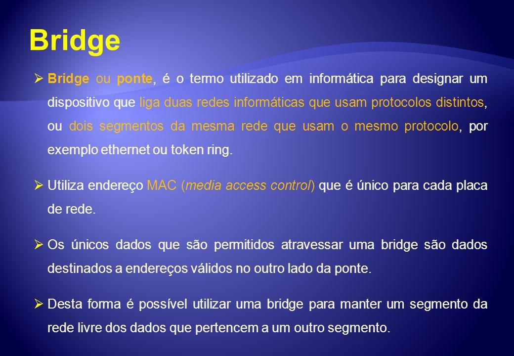 Bridge Bridge ou ponte, é o termo utilizado em informática para designar um dispositivo que liga duas redes informáticas que usam protocolos distintos