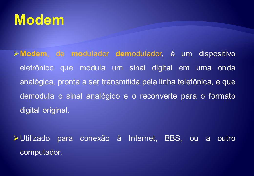 Modem Modem, de modulador demodulador, é um dispositivo eletrônico que modula um sinal digital em uma onda analógica, pronta a ser transmitida pela li