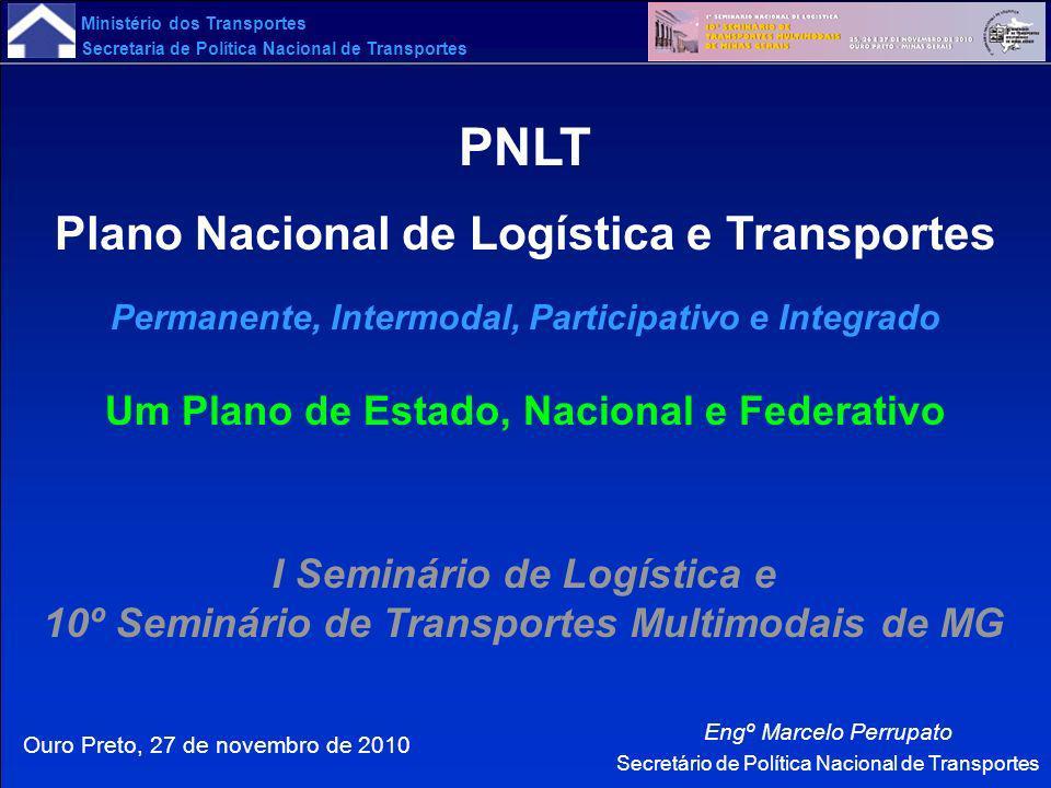 Ministério dos Transportes Secretaria de Política Nacional de Transportes Ouro Preto, 27 de novembro de 2010 Engº Marcelo Perrupato Secretário de Polí