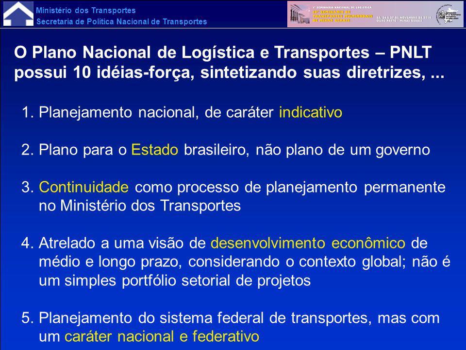 Ministério dos Transportes Secretaria de Política Nacional de Transportes O Plano Nacional de Logística e Transportes – PNLT possui 10 idéias-força, s