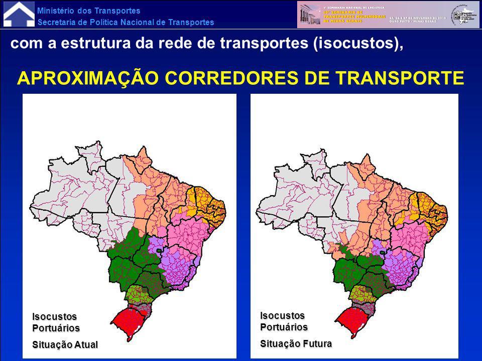 Ministério dos Transportes Secretaria de Política Nacional de Transportes com a estrutura da rede de transportes (isocustos), APROXIMAÇÃO CORREDORES D