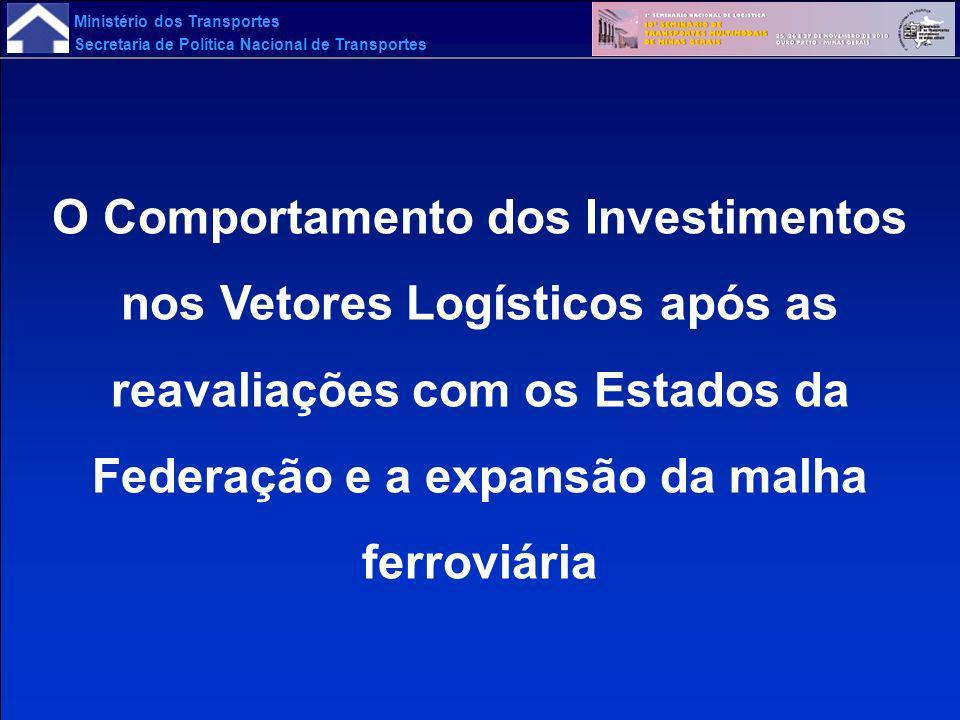 Ministério dos Transportes Secretaria de Política Nacional de Transportes O Comportamento dos Investimentos nos Vetores Logísticos após as reavaliaçõe