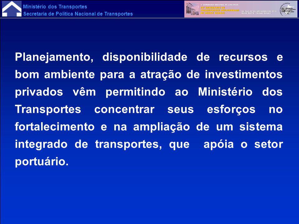 Ministério dos Transportes Secretaria de Política Nacional de Transportes Planejamento, disponibilidade de recursos e bom ambiente para a atração de i