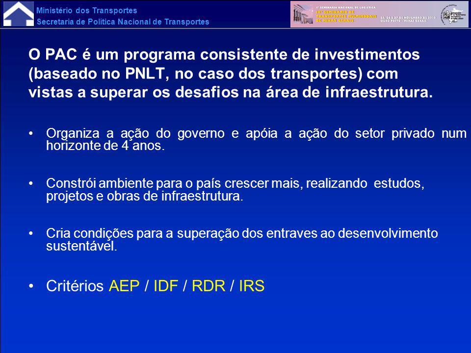 Ministério dos Transportes Secretaria de Política Nacional de Transportes O PAC é um programa consistente de investimentos (baseado no PNLT, no caso d