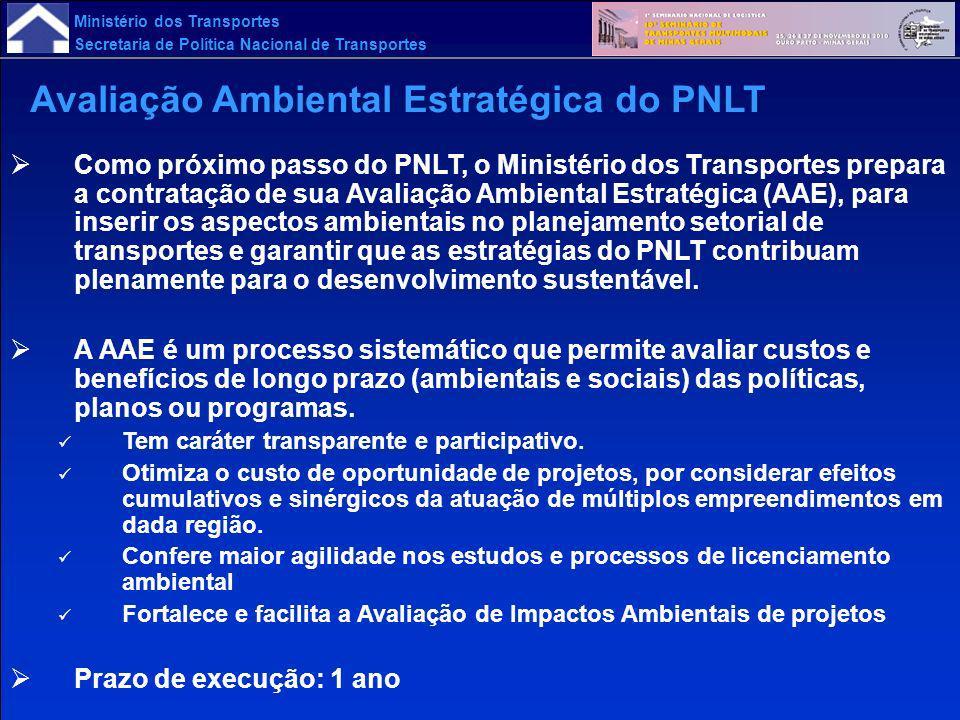 Ministério dos Transportes Secretaria de Política Nacional de Transportes Como próximo passo do PNLT, o Ministério dos Transportes prepara a contrataç