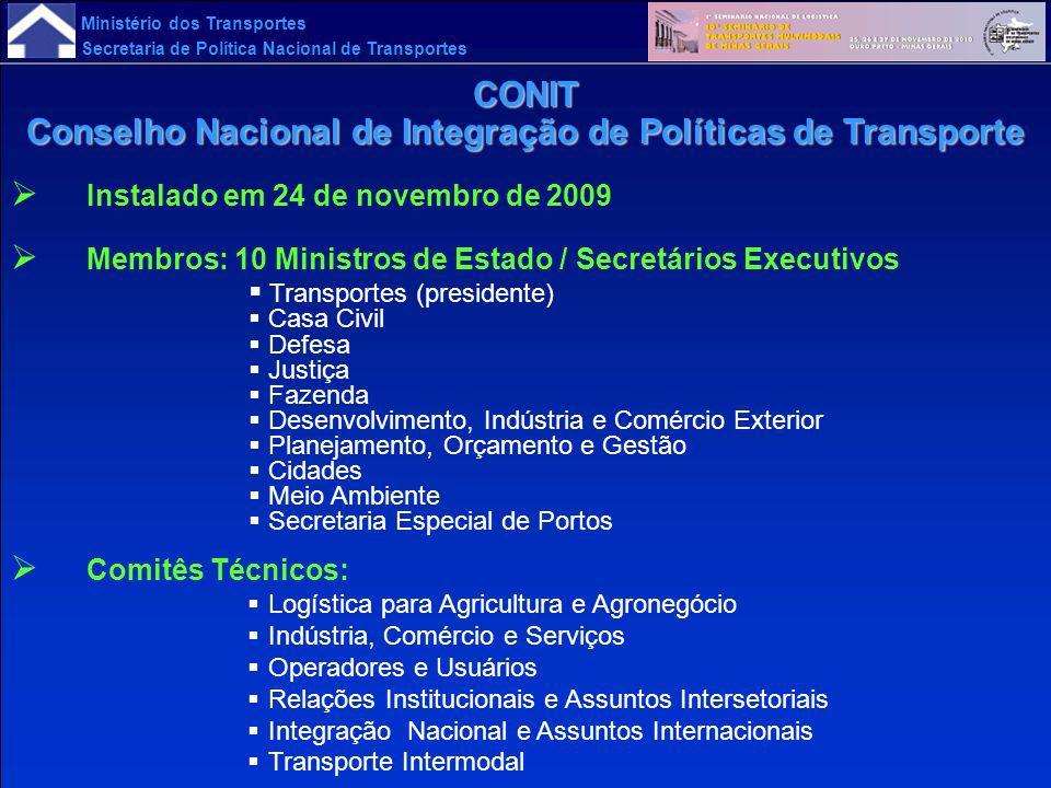 Ministério dos Transportes Secretaria de Política Nacional de Transportes Instalado em 24 de novembro de 2009 Membros: 10 Ministros de Estado / Secret