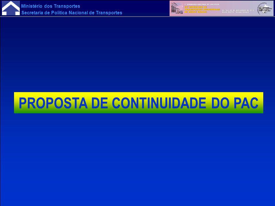 Ministério dos Transportes Secretaria de Política Nacional de Transportes PROPOSTA DE CONTINUIDADE DO PAC