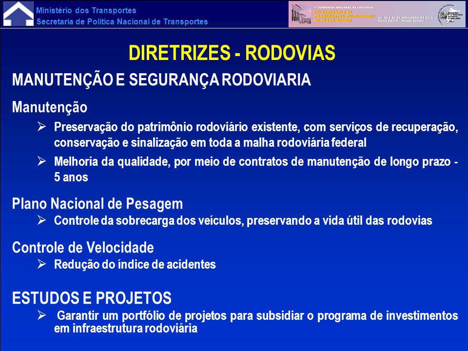Ministério dos Transportes Secretaria de Política Nacional de Transportes DIRETRIZES - RODOVIAS MANUTENÇÃO E SEGURANÇA RODOVIARIA Manutenção Preservaç