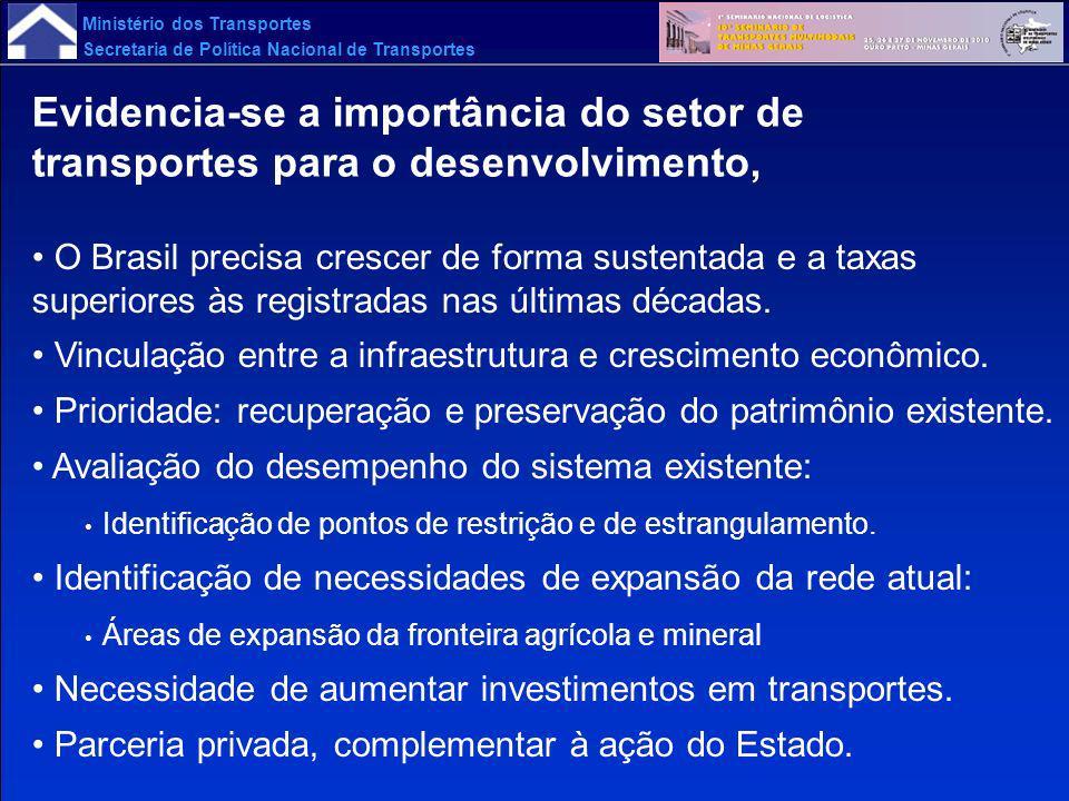 Ministério dos Transportes Secretaria de Política Nacional de Transportes Valor Bruto da Produção (VBP) em 2002 e 2023 - Preços de 2005 em R$ Milhões - Brasil Setores da Economia Tipo de Estatística Valor Bruto da Produção em 2002 Valor Bruto da Produção em 2023 Evol % aa no período de 2002 a 2023 Abs% ExpAbs% Exp Agronegócio In Natura Abs246.9046,93379.6458,592,07 % s/Total BR7,28-5,59-(1,25) Transformado Abs412.78620,95789.67725,313,14 % s/Total BR12,17-11,63-(0,22) Total Abs659.68915,701.169.32319,882,76 % s/Total BR19,44-17,22-(0,58) Minérios In Natura Abs19.94357,0499.90861,467,98 % s/Total BR0,59-1,47-4,47 Transformado Abs227.8316,54411.8537,932,86 % s/Total BR6,72-6,06-(0,48) Total Abs247.77410,61511.76118,383,51 % s/Total BR7,30-7,54-0,15 Indústria Transformação Total Abs835.47313,391.994.20920,994,23 % s/Total BR24,63-29,37-0,84 Serviços, Comércio e Comércio Civil Total Abs1.291.659-2.407.647-3,01 % s/Total BR38,07-35,45-(0,34) Administração Pública Total Abs358.146-707.778-3,30 % s/Total BR10,56-10,42-(0,06) Total do Valor Bruto da Produção Total Abs 3.392.7418,126.790.71813,163,36 % Total BR100,00- -0,00