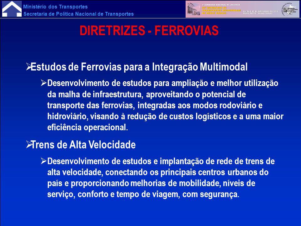 Ministério dos Transportes Secretaria de Política Nacional de Transportes DIRETRIZES - FERROVIAS Estudos de Ferrovias para a Integração Multimodal Des