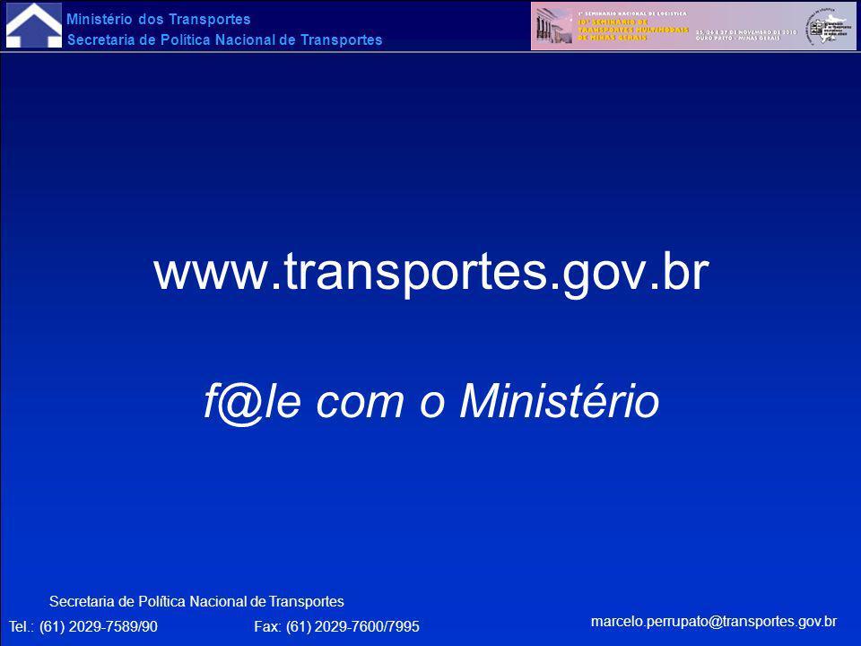 Ministério dos Transportes Secretaria de Política Nacional de Transportes www.transportes.gov.br f@le com o Ministério Secretaria de Política Nacional