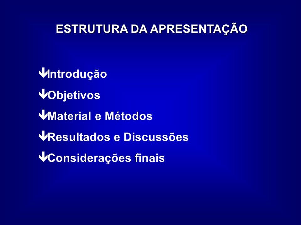 ESTRUTURA DA APRESENTAÇÃO Introdução ê Objetivos ê Material e Métodos ê Resultados e Discussões ê Considerações finais