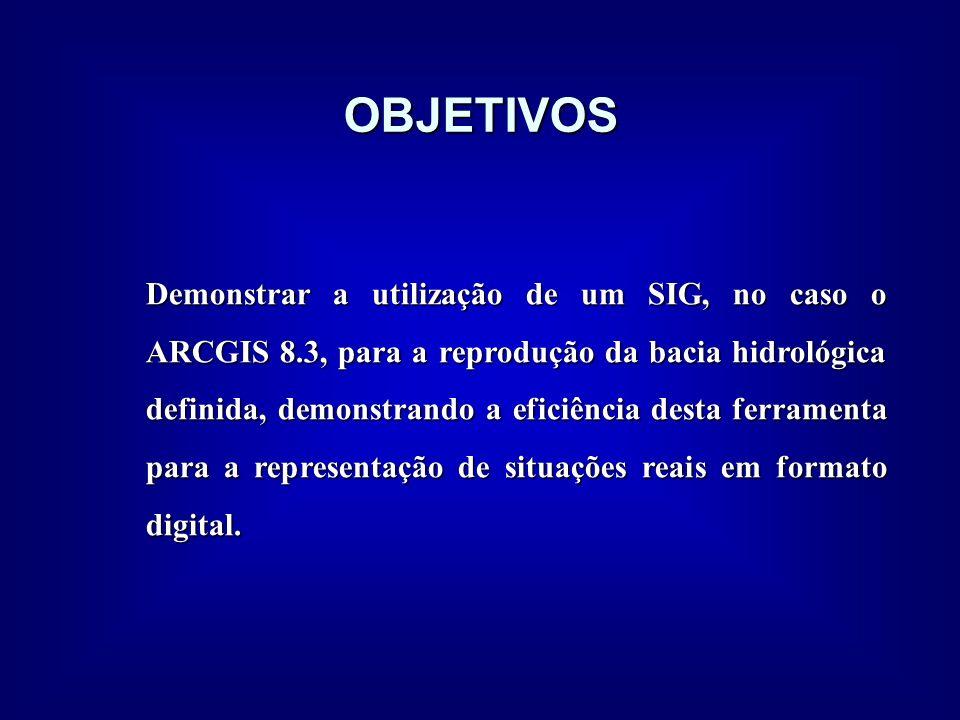 OBJETIVOS Demonstrar a utilização de um SIG, no caso o ARCGIS 8.3, para a reprodução da bacia hidrológica definida, demonstrando a eficiência desta fe