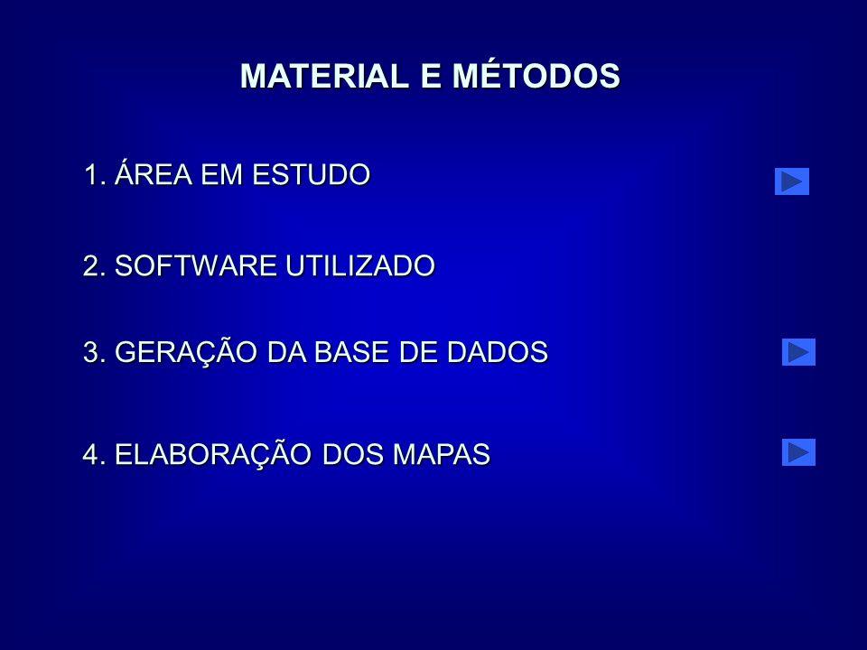 MATERIAL E MÉTODOS 2. SOFTWARE UTILIZADO 3. GERAÇÃO DA BASE DE DADOS 4. ELABORAÇÃO DOS MAPAS 1. ÁREA EM ESTUDO