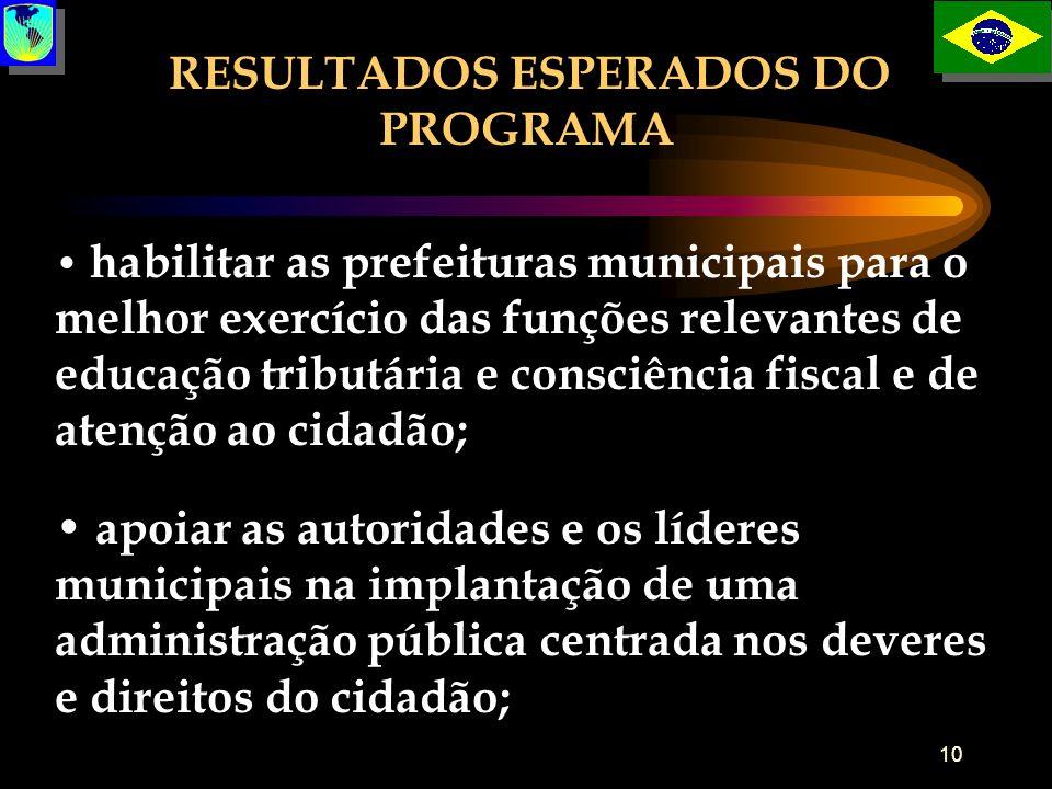 10 habilitar as prefeituras municipais para o melhor exercício das funções relevantes de educação tributária e consciência fiscal e de atenção ao cida