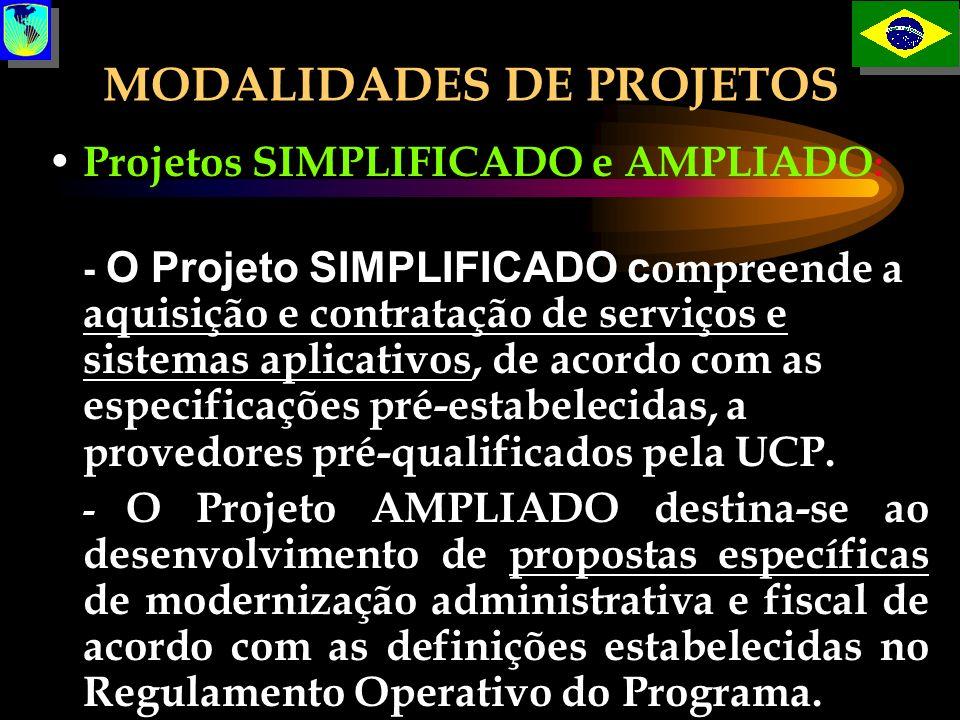 MODALIDADES DE PROJETOS Projetos SIMPLIFICADO e AMPLIADO : - O Projeto SIMPLIFICADO c ompreende a aquisição e contratação de serviços e sistemas aplic