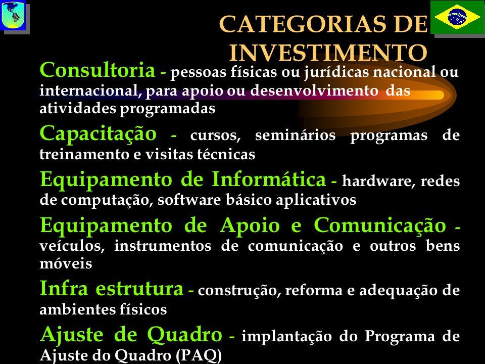 CATEGORIAS DE INVESTIMENTO Consultoria - pessoas físicas ou jurídicas nacional ou internacional, para apoio ou desenvolvimento das atividades programa
