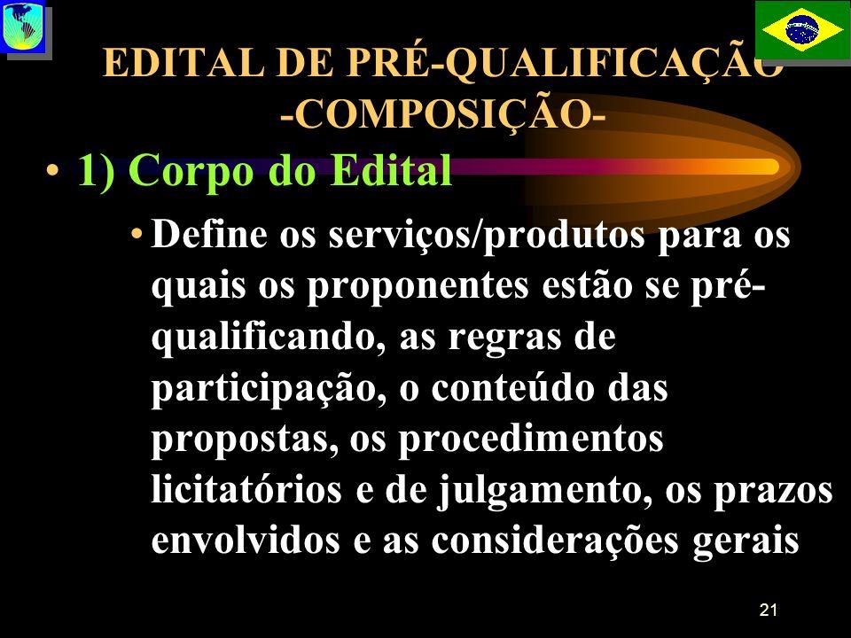 21 EDITAL DE PRÉ-QUALIFICAÇÃO -COMPOSIÇÃO- 1) Corpo do Edital Define os serviços/produtos para os quais os proponentes estão se pré- qualificando, as