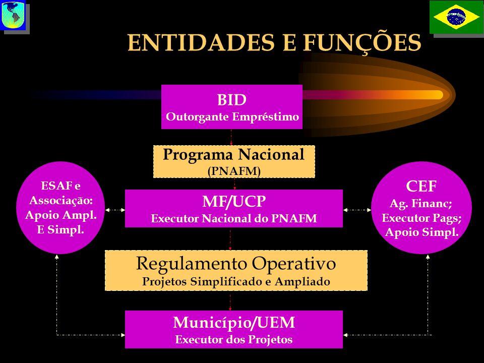 ENTIDADES E FUNÇÕES BID Outorgante Empréstimo Programa Nacional (PNAFM) MF/UCP Executor Nacional do PNAFM Regulamento Operativo Projetos Simplificado