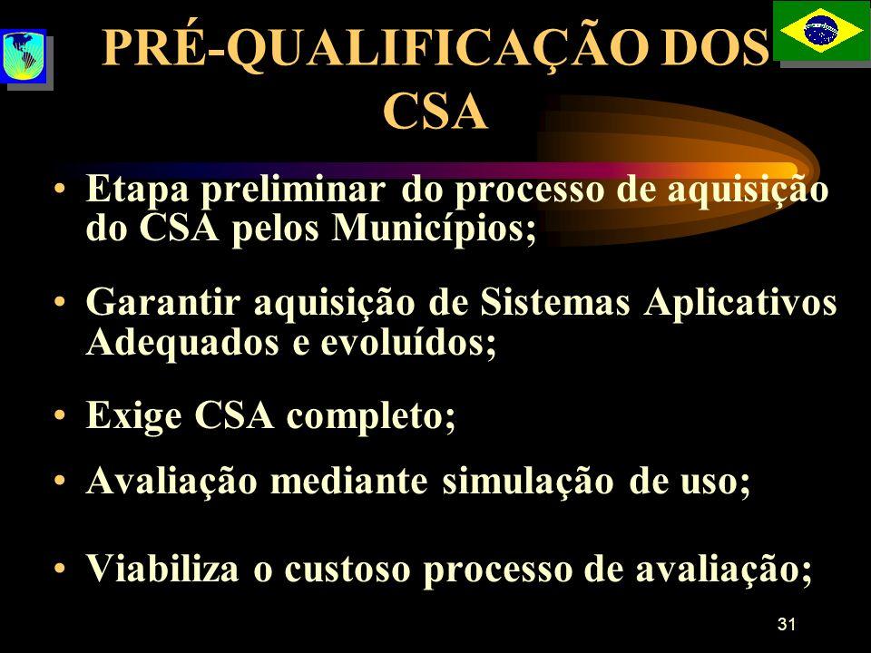 31 PRÉ-QUALIFICAÇÃO DOS CSA Etapa preliminar do processo de aquisição do CSA pelos Municípios; Garantir aquisição de Sistemas Aplicativos Adequados e
