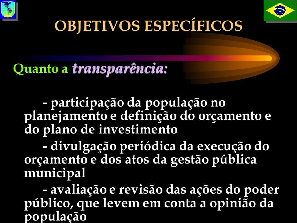 OBJETIVOS ESPECÍFICOS transparência: Quanto a transparência: - participação da população no planejamento e definição do orçamento e do plano de invest