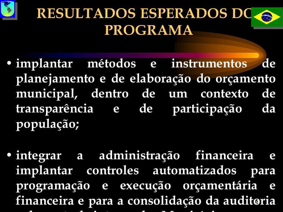 8 RESULTADOS ESPERADOS DO PROGRAMA implantar métodos e instrumentos de planejamento e de elaboração do orçamento municipal, dentro de um contexto de t
