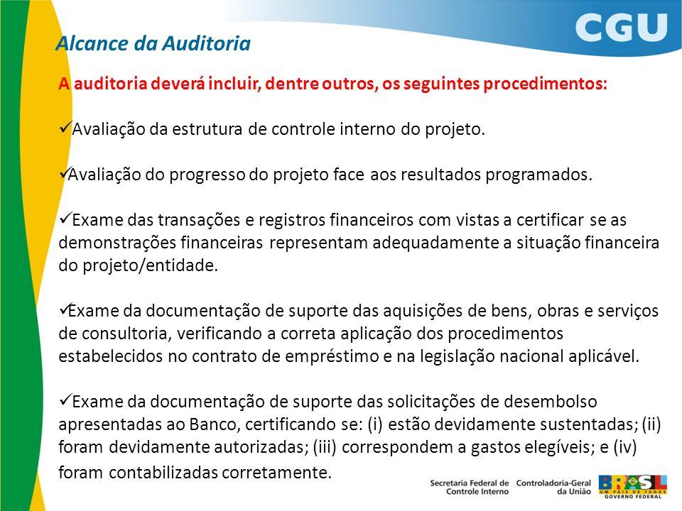 A auditoria deverá incluir, dentre outros, os seguintes procedimentos: Avaliação da estrutura de controle interno do projeto. Avaliação do progresso d