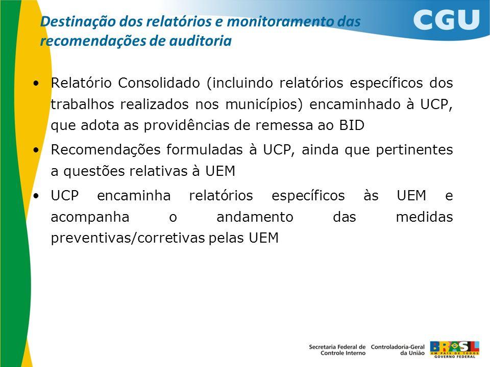 Relatório Consolidado (incluindo relatórios específicos dos trabalhos realizados nos municípios) encaminhado à UCP, que adota as providências de remes