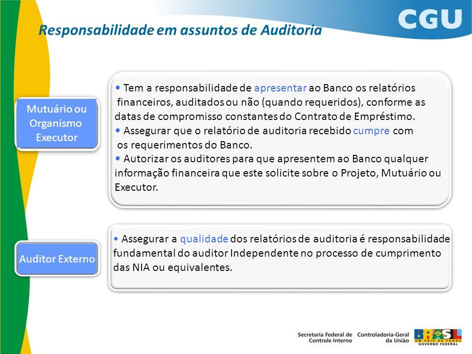 Auditor Externo Mutuário ou Organismo Executor Tem a responsabilidade de apresentar ao Banco os relatórios financeiros, auditados ou não (quando reque
