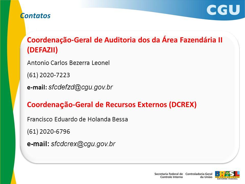 Coordenação-Geral de Auditoria dos da Área Fazendária II (DEFAZII) Antonio Carlos Bezerra Leonel (61) 2020-7223 e-mail: sfcdefzd@cgu.gov.br Coordena ç