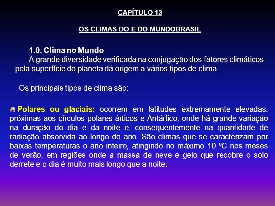 CAPÍTULO 13 OS CLIMAS DO E DO MUNDOBRASIL 1.0. Clima no Mundo A grande diversidade verificada na conjugação dos fatores climáticos pela superfície do
