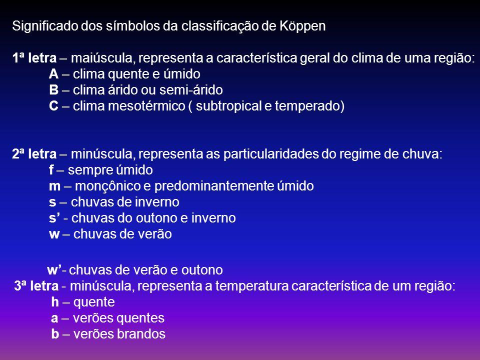 Significado dos símbolos da classificação de Köppen 1ª letra – maiúscula, representa a característica geral do clima de uma região: A – clima quente e