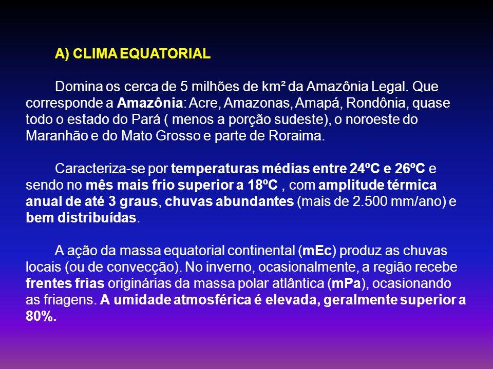 A) CLIMA EQUATORIAL Domina os cerca de 5 milhões de km² da Amazônia Legal. Que corresponde a Amazônia: Acre, Amazonas, Amapá, Rondônia, quase todo o e