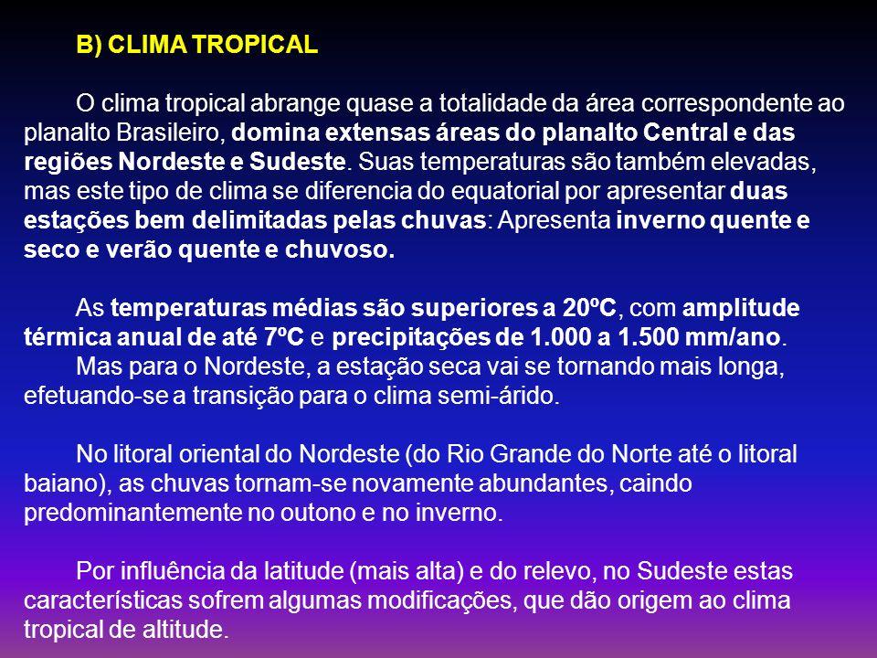 B) CLIMA TROPICAL O clima tropical abrange quase a totalidade da área correspondente ao planalto Brasileiro, domina extensas áreas do planalto Central