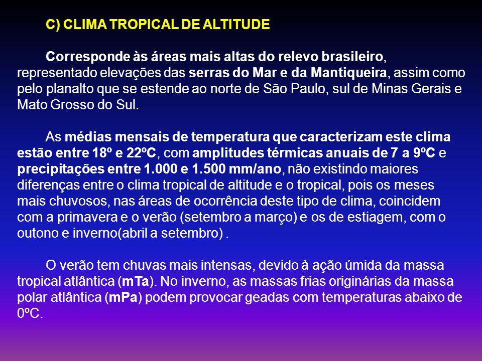 C) CLIMA TROPICAL DE ALTITUDE Corresponde às áreas mais altas do relevo brasileiro, representado elevações das serras do Mar e da Mantiqueira, assim c