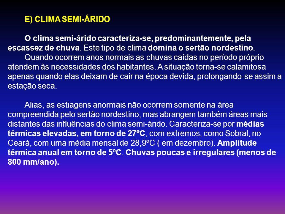 E) CLIMA SEMI-ÁRIDO O clima semi-árido caracteriza-se, predominantemente, pela escassez de chuva. Este tipo de clima domina o sertão nordestino. Quand