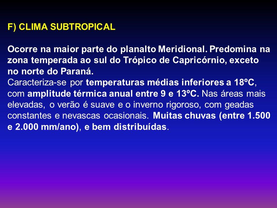 F) CLIMA SUBTROPICAL Ocorre na maior parte do planalto Meridional. Predomina na zona temperada ao sul do Trópico de Capricórnio, exceto no norte do Pa