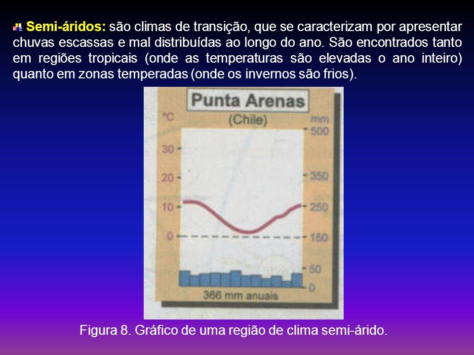 Semi-áridos: são climas de transição, que se caracterizam por apresentar chuvas escassas e mal distribuídas ao longo do ano. São encontrados tanto em