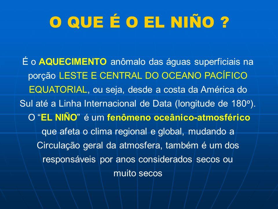 HISTÓRICO DO FENÔMENO EL NIÑO Os pescadores peruanos já conviviam com esse fenômeno que causava uma diminuição na quantidade de peixes na Costa do Peru, sempre na época do Natal, e por isso lhe deram o nome de El Niño (que quer dizer MENINO-JESUS, em espanhol) O El Niño dura, em média, de 12 a 18 meses com intervalos cíclicos de 2 a 7 anos