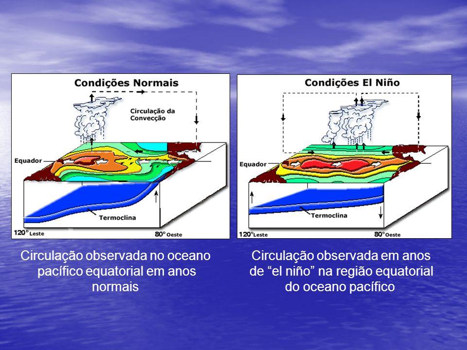Circulação observada no oceano pacífico equatorial em anos normais Circulação observada em anos de el niño na região equatorial do oceano pacífico