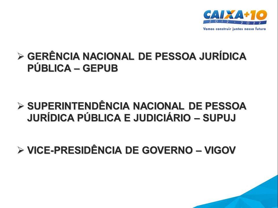 GERÊNCIA NACIONAL DE PESSOA JURÍDICA PÚBLICA – GEPUB GERÊNCIA NACIONAL DE PESSOA JURÍDICA PÚBLICA – GEPUB SUPERINTENDÊNCIA NACIONAL DE PESSOA JURÍDICA PÚBLICA E JUDICIÁRIO – SUPUJ SUPERINTENDÊNCIA NACIONAL DE PESSOA JURÍDICA PÚBLICA E JUDICIÁRIO – SUPUJ VICE-PRESIDÊNCIA DE GOVERNO – VIGOV VICE-PRESIDÊNCIA DE GOVERNO – VIGOV