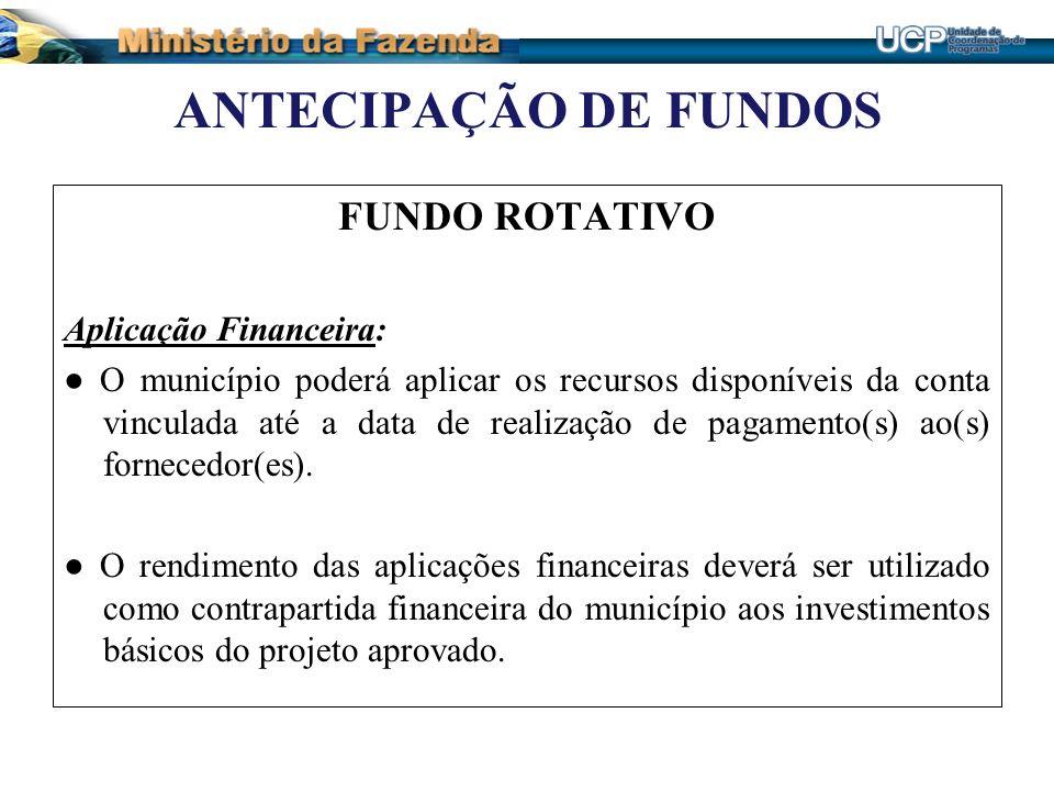 ANTECIPAÇÃO DE FUNDOS FUNDO ROTATIVO Aplicação Financeira: O município poderá aplicar os recursos disponíveis da conta vinculada até a data de realiza