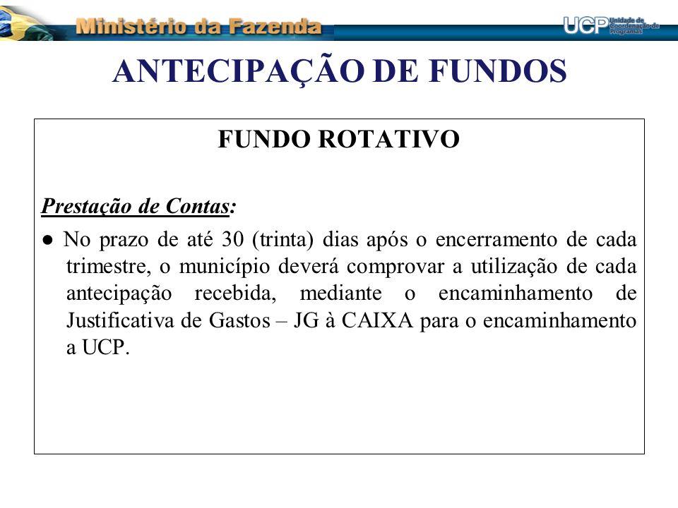 ANTECIPAÇÃO DE FUNDOS FUNDO ROTATIVO Prestação de Contas: No prazo de até 30 (trinta) dias após o encerramento de cada trimestre, o município deverá c