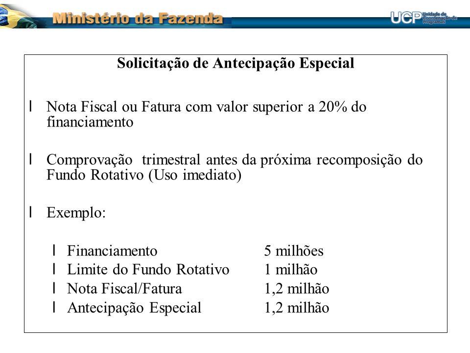 Solicitação de Antecipação Especial lNota Fiscal ou Fatura com valor superior a 20% do financiamento lComprovação trimestral antes da próxima recompos