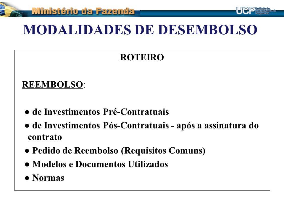 MODALIDADES DE DESEMBOLSO ROTEIRO REEMBOLSO: de Investimentos Pré-Contratuais de Investimentos Pós-Contratuais - após a assinatura do contrato Pedido