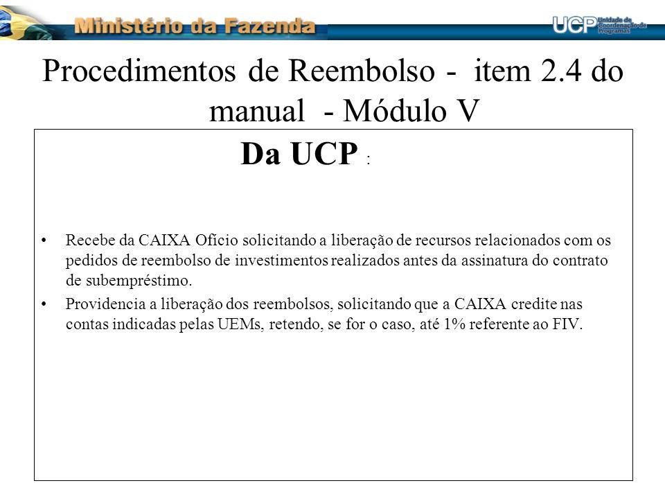 Procedimentos de Reembolso - item 2.4 do manual - Módulo V Da UCP : Recebe da CAIXA Ofício solicitando a liberação de recursos relacionados com os ped