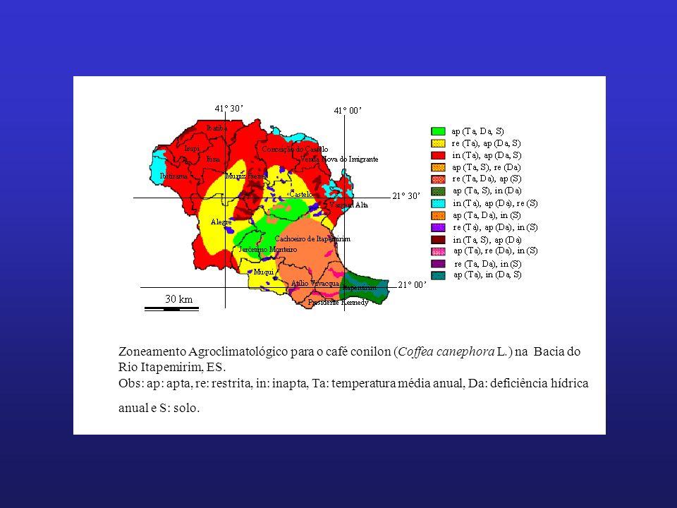 Zoneamento Agroclimatológico para o café conilon (Coffea canephora L.) na Bacia do Rio Itapemirim, ES. Obs: ap: apta, re: restrita, in: inapta, Ta: te